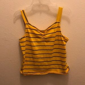 Yellow pink teal and blue striped tank top